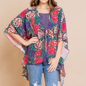 Floral Print Kimono with Waist Tie and Side Slits